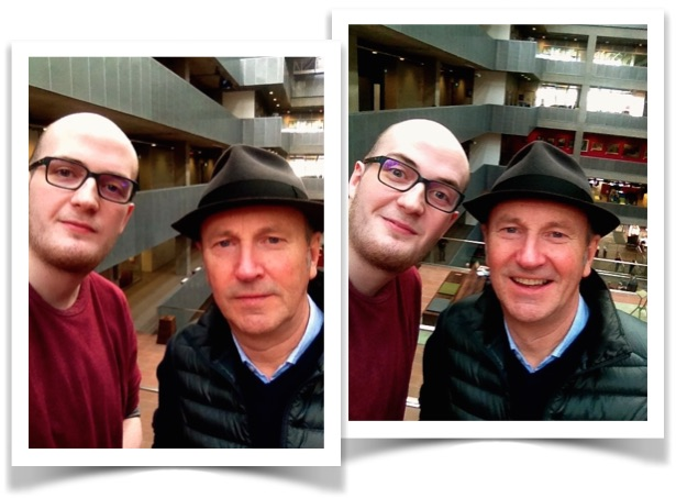 Fred and James post-chat. An enjoyable contrast of two pictures we took.