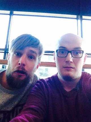 Iain Stirling and James Walker post-chat.