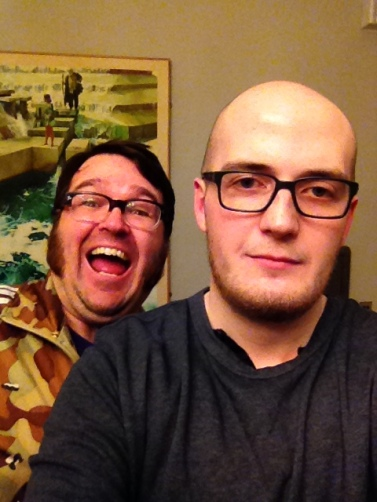 Jarred and James after recording the podcast. Both of them luvin' it.